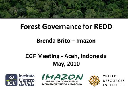 Forest Governance for REDD Brenda Brito – Imazon CGF Meeting - Aceh, Indonesia May, 2010.