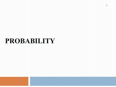 PROBABILITY 1. Basic Terminology 2 Probability 3  Probability is the numerical measure of the likelihood that an event will occur  The probability.