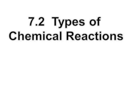 Identify, give evidence for, predict products of, and classify the following types of chemical reactions: 1. Synthesis (combination) 2. Decomposition.