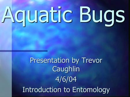 Aquatic Bugs Presentation by Trevor Caughlin 4/6/04 Introduction to Entomology.