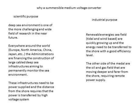 Why a summersible medium voltage converter scientific purpose industrial purpose deep sea environment is one of the more challenging and wide field of.