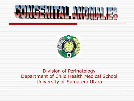 Division of Perinatology Department of Child Health Medical School University of Sumatera Utara.
