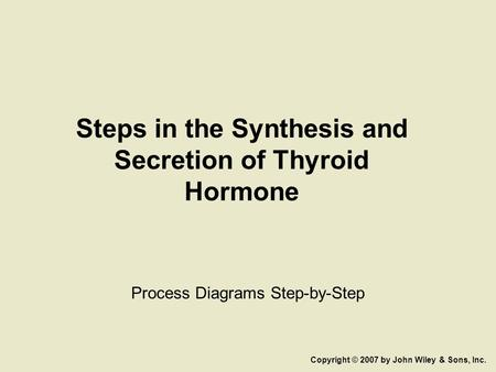 Steps in the Synthesis and Secretion of Thyroid Hormone Process Diagrams Step-by-Step Copyright © 2007 by John Wiley & Sons, Inc.