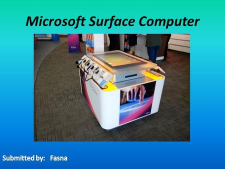 Microsoft Surface Computer. CONTENTS Introduction Overview History Specifications Features.