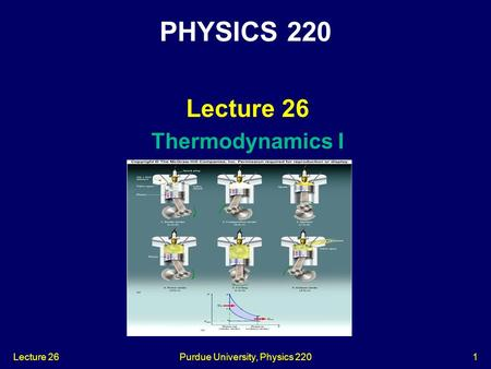 Lecture 26Purdue University, Physics 2201 Lecture 26 Thermodynamics I PHYSICS 220.