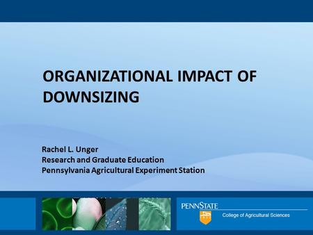 Rachel L. Unger Research and Graduate Education Pennsylvania Agricultural Experiment Station ORGANIZATIONAL IMPACT OF DOWNSIZING.