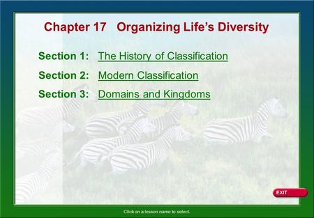 Click on a lesson name to select. Chapter 17 Organizing Life's Diversity Section 1: The History of Classification Section 2: Modern Classification Section.