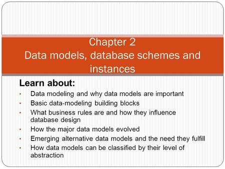 Learn about: Data modeling and why data models are important Basic data-modeling building blocks What business rules are and how they influence database.
