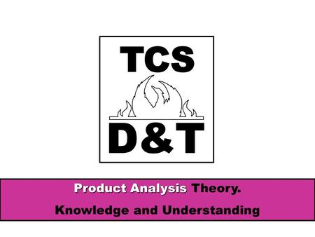 Product Analysis Product Analysis Theory. Knowledge and Understanding.
