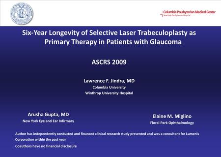 Six-Year Longevity of Selective Laser Trabeculoplasty as Primary Therapy in Patients with Glaucoma ASCRS 2009 Lawrence F. Jindra, MD Columbia University.