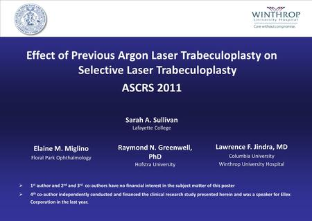Effect of Previous Argon Laser Trabeculoplasty on Selective Laser Trabeculoplasty ASCRS 2011 Lawrence F. Jindra, MD Columbia University Winthrop University.