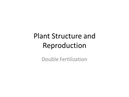 Plant Structure and Reproduction Double Fertilization.