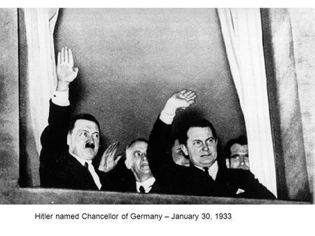 Hitler named Chancellor of Germany – January 30, 1933.