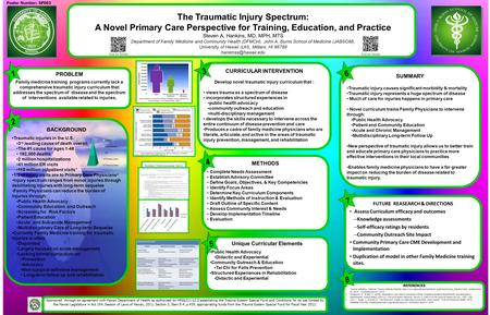 The Traumatic Injury Spectrum: A Novel Primary Care Perspective for Training, Education, and Practice Steven A. Hankins, MD, MPH, MTS Department of Family.