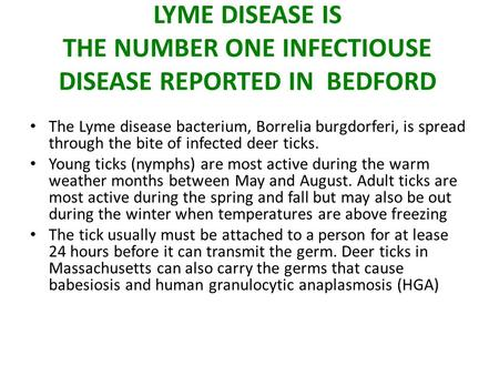 LYME DISEASE IS THE NUMBER ONE INFECTIOUSE DISEASE REPORTED IN BEDFORD The Lyme disease bacterium, Borrelia burgdorferi, is spread through the bite of.