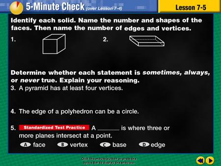 5 minute check 5 Click the mouse button or press the Space Bar to display the answers.