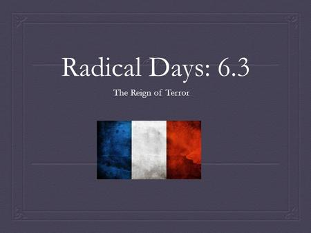 Radical Days: 6.3 The Reign of Terror. The Monarchy is Abolished  Outbreaks of Violence : Battles broke out between Revolutionaries and invaders who.