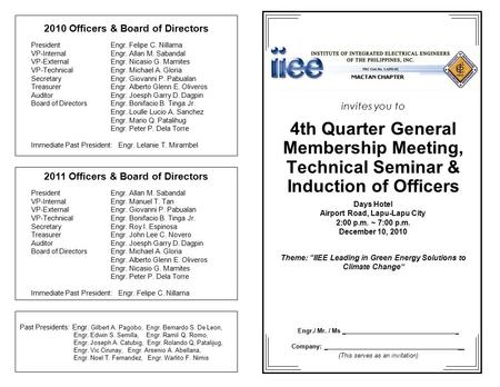 Invites you to 4th Quarter General Membership Meeting, Technical Seminar & Induction of Officers Days Hotel Airport Road, Lapu-Lapu City 2:00 p.m. ~ 7:00.
