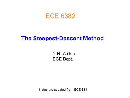The Steepest-Descent Method
