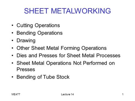 SHEET METALWORKING Cutting Operations Bending Operations Drawing