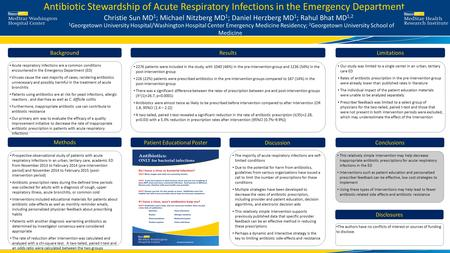 Antibiotic Stewardship of Acute Respiratory Infections in the Emergency Department Acute respiratory infections are a common conditions encountered in.