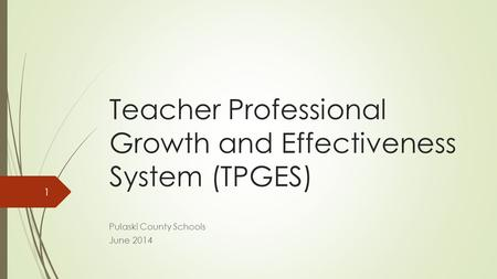 Teacher Professional Growth and Effectiveness System (TPGES) Pulaski County Schools June 2014 1.