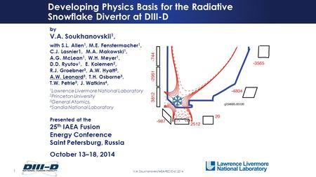 1 V.A. Soukhanovskii/IAEA-FEC/Oct. 2014 Developing Physics Basis for the Radiative Snowflake Divertor at DIII-D by V.A. Soukhanovskii 1, with S.L. Allen.