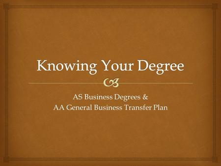 AS Business Degrees & AA General Business Transfer Plan.