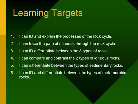 Learning Targets 1.I can ID and explain the processes of the rock cycle. 2.I can trace the path of minerals through the rock cycle. 3.I can ID differentiate.