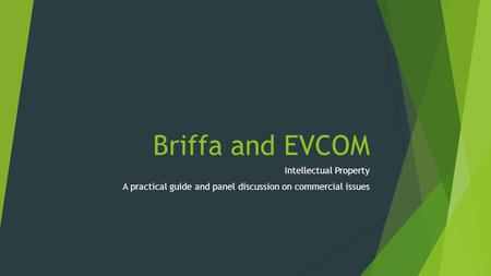 Briffa and EVCOM Intellectual Property A practical guide and panel discussion on commercial issues.