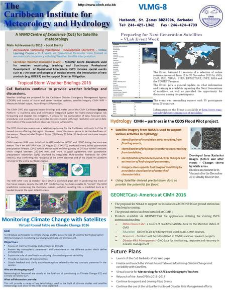 A WMO Centre of Excellence (CoE) for Satellite meteorology Main Achievements 2015 - Local Events Aeronautical Continuing Professional Development (AeroCPD)