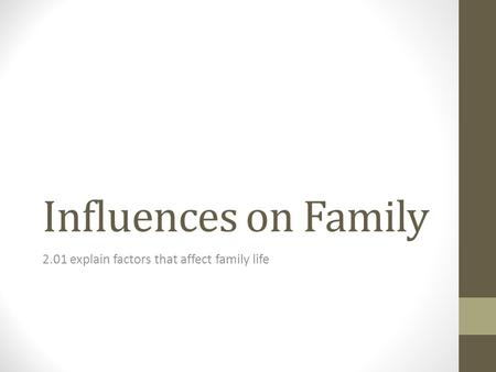 Influences on Family 2.01 explain factors that affect family life.