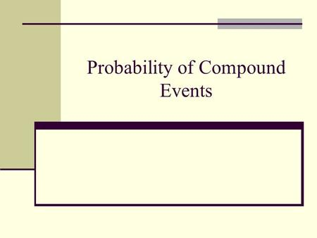 Probability of Compound Events. Review of Simple Probability The probability of a simple event is a ratio of the number of favorable outcomes for the.