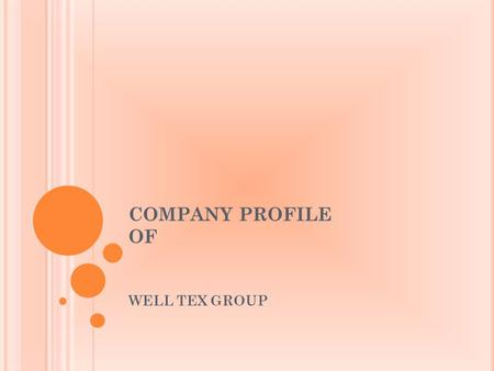 COMPANY PROFILE  OF WELL TEX GROUP.