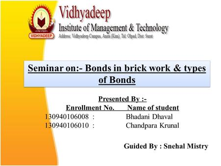 Seminar on:- Bonds in brick work & types of Bonds