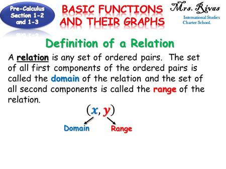 Definition of a Relation relation domain range A relation is any set of ordered pairs. The set of all first components of the ordered pairs is called the.