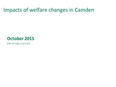 Impacts of welfare changes in Camden October 2015 (HB ref date 1 Oct-15)