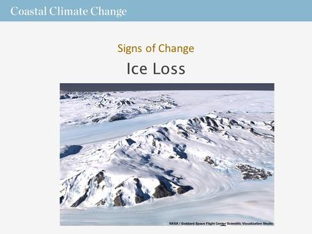 Ice Loss Signs of Change. The Cryosphere  Earth has many frozen features including – sea, lake, and river ice; – snow cover; – glaciers, – ice caps;