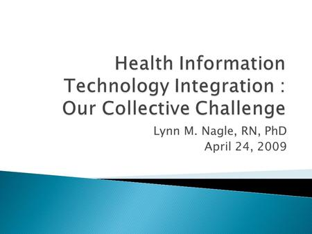 Lynn M. Nagle, RN, PhD April 24, 2009.  Up to now…  A few of the challenges  Some of the strategies  Thinking about the future.