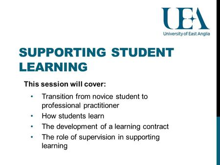 SUPPORTING STUDENT LEARNING This session will cover: Transition from novice student to professional practitioner How students learn The development of.