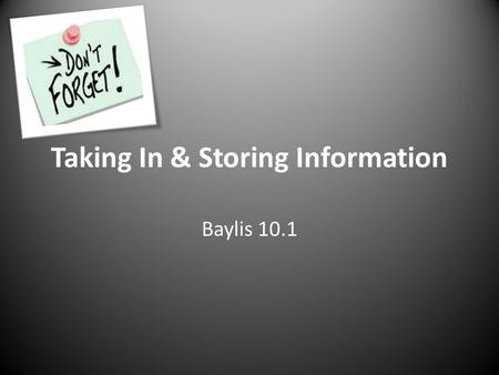 Taking In & Storing Information Baylis 10.1. Memory Memory: The storage & retrieval of what has been learned or experienced ENCODING STORAGE RETRIEVAL.