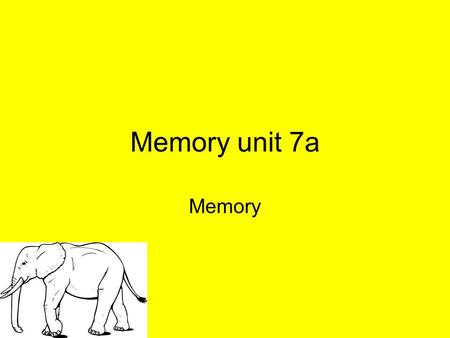 Memory unit 7a Memory. the persistence of learning over time through the storage and retrieval of information.