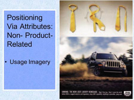 1 Positioning Via Attributes: Non- Product- Related Usage Imagery.