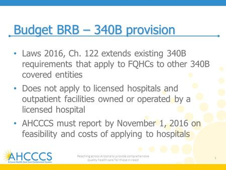 Budget BRB – 340B provision Laws 2016, Ch. 122 extends existing 340B requirements that apply to FQHCs to other 340B covered entities Does not apply to.
