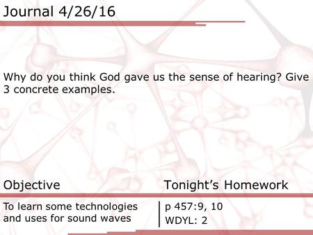 Journal 4/26/16 Why do you think God gave us the sense of hearing? Give 3 concrete examples. Objective Tonight's Homework To learn some technologies and.