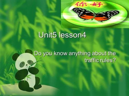 Unit5 lesson4 Do you know anything about the traffic rules?