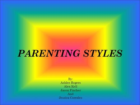 PARENTING STYLES By: Ashlee Rogers Alex Kell Jason Fincher And Jessica Corrales.
