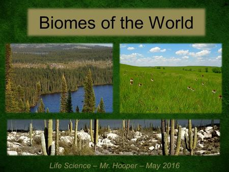 Biomes of the World Life Science – Mr. Hooper – May 2016.
