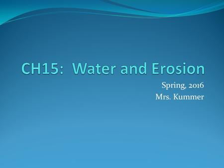 Spring, 2016 Mrs. Kummer. The Water Cycle Evaporation-liquid H2O changes to water vapor Transpiration-the release of water vapor into environment from.