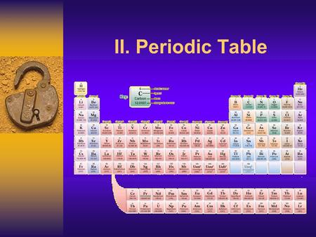 II. Periodic Table J Deutsch 2003 2 The placement or location of elements on the Periodic Table gives an indication of physical and chemical properties.